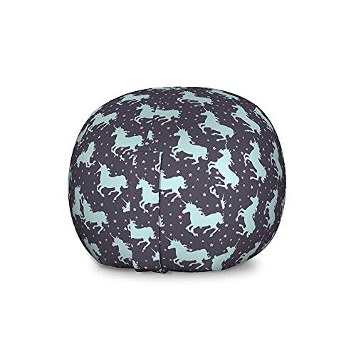 ABAKUHAUS Einhorn Spielzeugtaschenstuhl, Unicorn Spot-Sterne, Gefüllter Tier Organizer Waschbare Tasche für Kinder, große Größe, Dunkelblau und Rosa