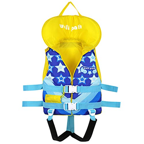 Kids Swim Vest Life Jackets for 24-77 lbs,Child Swim Flotation Learn to Swim, Head Protection Buoyancy Life Vest with Emergency Whistle & Adjustable Safety Strap