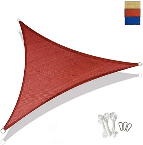 Shade Triangular pergola shade sail for resistant and stable blue sun visor 3 x 3 x 3-m (10 x 10 x 10-ft)-3 x 3 x 3-m (10 x 10 x 10-ft)_rouge 0713