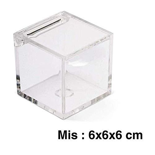 Aurora Store.it 12 Scatoline Portaconfetti 6x6x6cm Cubo Quadrato per Matrimonio Comunione scatole per Confetti bomboniere segnaposto in plexiglass Trasparenti da Decorare decoupage