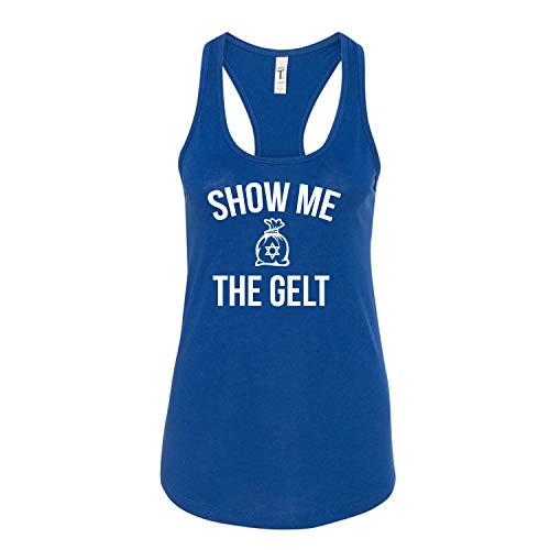 Show Me The Gelt Hanukkah Jewish Holiday Ladies Next Level Brand Sleeveless Racerback Tank Top (Assorted Colors)
