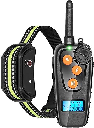 LXNQG Cuello de entrenamiento de perros Control remoto PET entrenador de la mascota Rango de hasta 1000 pies IPX67 Impermeable LCD Mostrar USB Carga de 3 modos de vibración y choque del timbre (color: