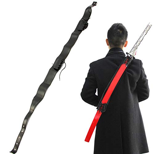 Wraith of East Katana Sword Carry Case DIY Ninja Samurai Weapon Bag Faux Leather Shoulder Harness Sheath Medieval Knights Sword Carrying Back Scabbard One Sword Slanting Strap