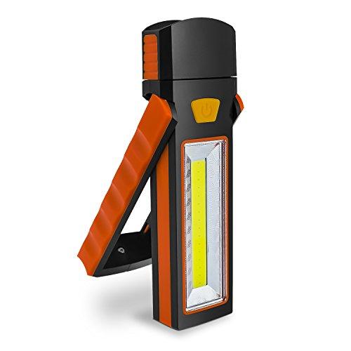 Debonice LED Arbeitsleuchte Werkstattlampe 3W COB + 1W LED Head Lampe 90 Grad Rotation mit Magnet und Haken (ohne Batterien)