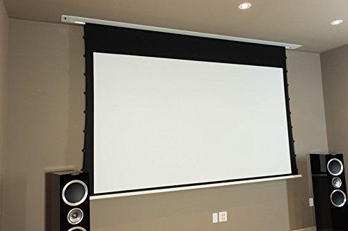 HiViLux Deckeneinbau Tension Motor Leinwand UHD 4K/3D/Full HD/Gain 1,0 Weiss Tuch aus professionell Kinofolie/Nur 13cm Einbauhöhe/mit Fernbedienung (16:9 Bild:248x140cm 112