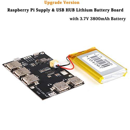 MakerHawk Raspberry Pi Supply y USB HUB Módulo de Fuente de alimentación de hub USB 2.0 de 5 Puertos con batería de Litio de 3800mAh para Raspberry Pi 3 Pi 2 Modelo B Cero o teléfono móvil