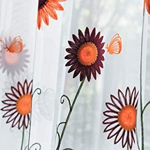 kengbi Durable Elegant Elements Draped and Aesthetic Pastoral Orange Sunflower Embroidered Curtains Blackout Kids Children Boys Nursery Window Treatment Blinds (Color : A, Size : Pull Pleated Tape)