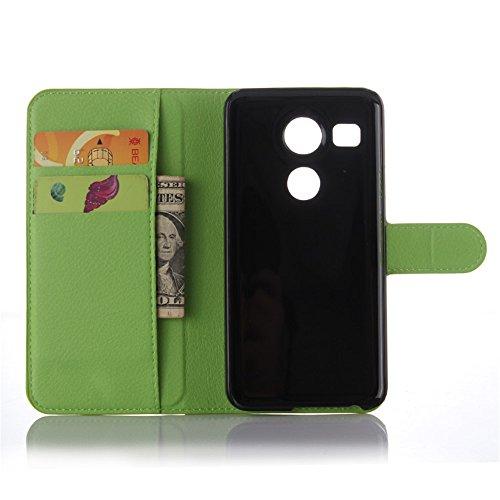 LG Nexus 5X Google Handyhülle Book Case LG Nexus 5X Google Hülle Klapphülle Tasche im Retro Wallet Design mit Praktischer Aufstellfunktion - Etui Grün