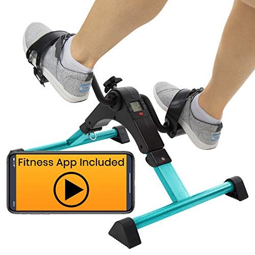 Vive Desk Bike Cycle - Foot Pedal Exerciser - Foldable Portable Foot, Hand, Arm, Leg Exercise Pedaling Machine - Folding Mini Stationary Bike Pedaler, Fitness Rehab Gym Equipment (Teal)