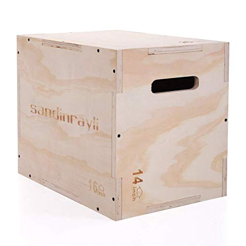 JAXPETY 3 in 1 Wood Plyometric Box for Jump Training and Conditioning -30/24/20