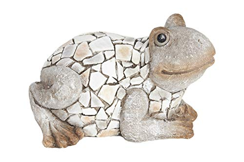 HEITMANN DECO großer Keramik-Frosch - Taupe - Dekoration für Wohnung, Garten oder Hütte - zum Hinstellen
