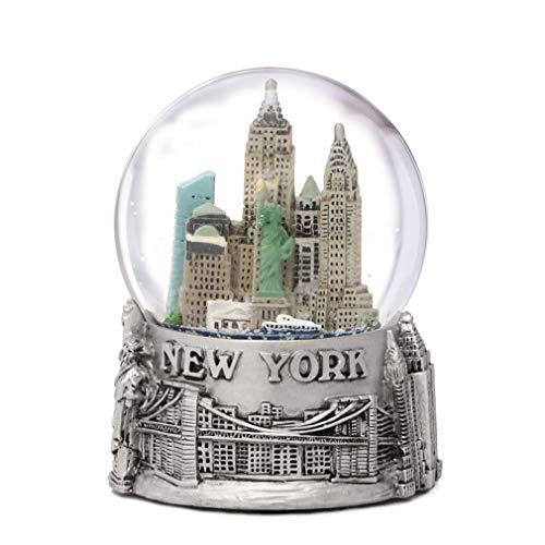 Ciudad de Nueva York plateado con forro bola de nieve 65mm nueva york Souvenir color Skyline bolas de nieve 3,5