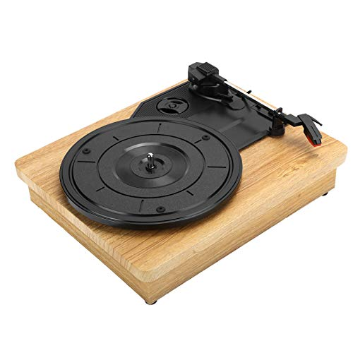 Sutinna Vinyl Record Player Wood Color Record Retro Player 33/45/78 RPM Turntable for RCA R/L Output USB DC 5V Portable Vintage Vinyl Record Player
