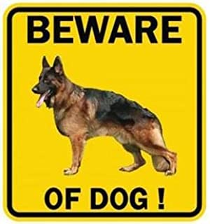 MAMA STICKER PVC Bumper Attention Beware of Dog German Shepherd Yellow Square Symbol Sign for Safety Security Warning Aler...