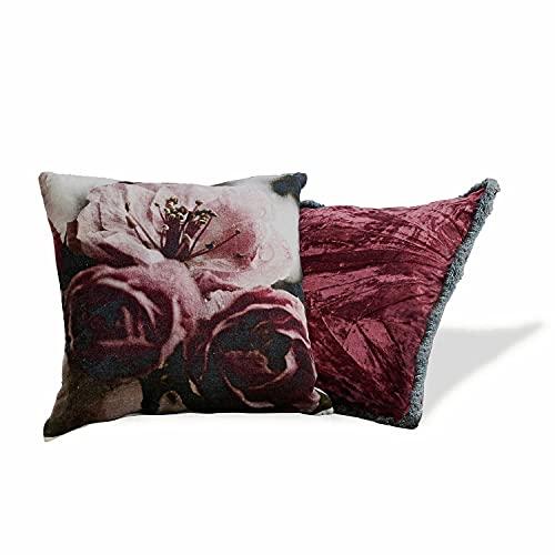 Loberon Kissen 2er Set Rhea, Viskosesamt, Baumwollsamt, H/B ca. 45/45 cm, rot