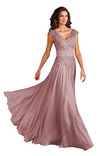 Women's V Neck Mother of The Groom Dress with Pockets A-line Long Lace Evening Party Dress Dusty Rose US 10
