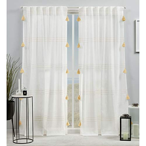 Exclusive Home Curtains EH8464-03-2-84H Demi Light Filtering Hidden Tab Top Curtain Panel Pair, 54x84, Yellow