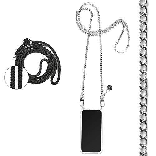 Jalouza Kette + Kordel, Handykette kompatibel mit Apple iPhone 11, Gliederkette in Farbe Silber mit Handy Hülle zum Umhängen + Schwarze Kordel zum Wechseln, Designed in Berlin