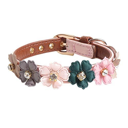 Collar de flores para perro, con diamantes brillantes, de cuero, collares ajustables para perros pequeños, medianos, chihuahua, rosa, longitud 34 cm