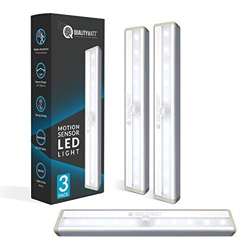 LED Motion Sensor Light Indoor [3-Pack] – Battery LED Lights Magnetic Light – Motion Sensor Closet Lights, LED Garage Light, Night Light, Wall Light – 10 Bulbs Per LED Strip Light QualityWatt