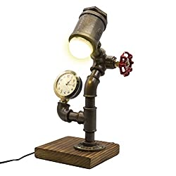 Industrial Steampunk LED Desk Lamp, Wood Base with Iron Piping Loft Style Vintage Antique Light, Retro Desk Lamp, Y-Nut Timer Edison Lamp Holder LL-0018