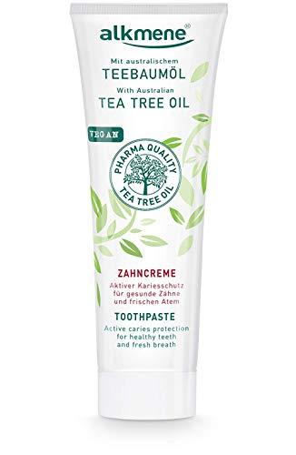 alkmene Teebaumöl Zahnpasta für empfindliche Zähne - vegane Zahncreme ohne Silikone, Parabene & Mineralöl - Natürliche Toothpaste mit Fluorid & australischem Teebaumöl (1x 100 ml)