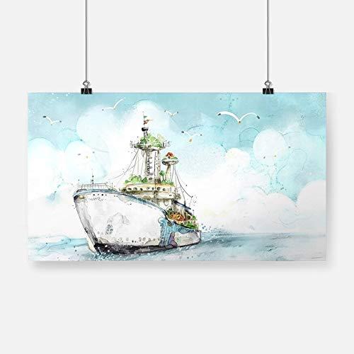 Seeboot Möwe Landschaft Poster Leinwand Malerei Wandkunst Dekoration Wohnzimmer Schlafzimmer Studie Home Dekoration Druck-Rahmenlos54X30cm