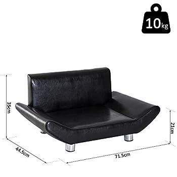 Pawhut Lit canapé Design Contemporain pour Chiens Chats 72L x 45l x 35H cm métal revêtement synthétique Noir