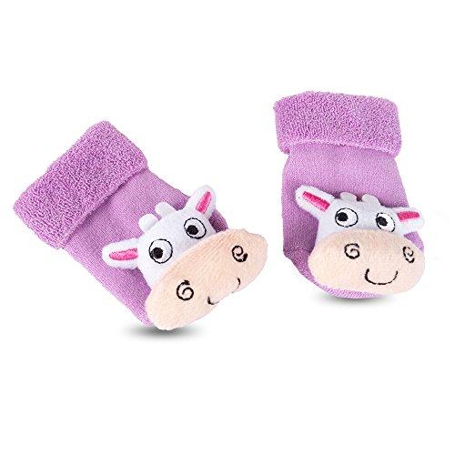 TopSpirit® Baby Rasselsocken Rasselsöckchen Kuh Plüsch - Socken für Babies/Baby bis 12 Monate - Mädchen und Jungen - One Size