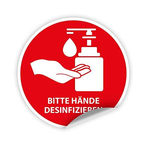 5x Aufkleber Sticker selbstklebend bitte Hände desinfizieren Ø Größe wählbar 10 cm Durchmesser