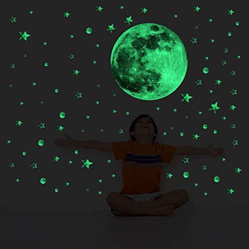 decalmile Luminosos Pegatinas de Pared Estrellas y Luna Brillantes en la Oscuridad Vinilos Decorativos Fluorescentes Adhesivos Pared Bebé Niños Habitación Dormitorio