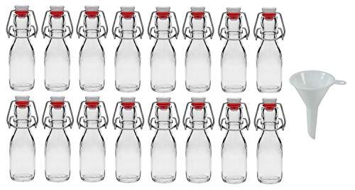 Viva Haushaltswaren - Juego de Botellas de Cristal (16 Unidades 100 ml con Cierre rellenables Incluye Embudo Blanco 5 cm de diámetro)