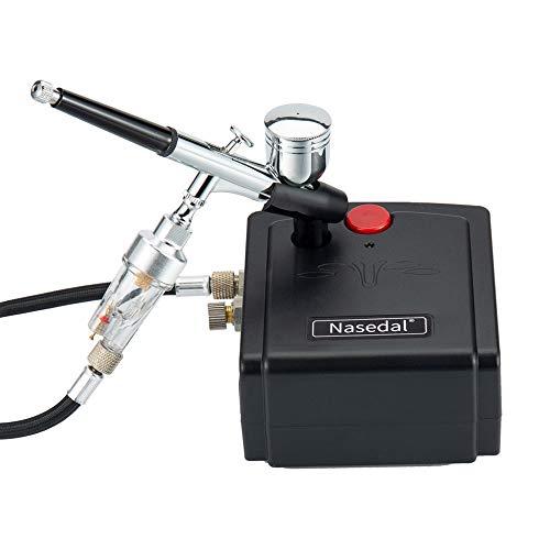 Nasedal Kit de aerógrafo multiusos de doble acción con mini compresor de 0,3 mm aerógrafo para arte de uñas, manualidades, decoración de pasteles, tatuajes, zapatos de coche,...