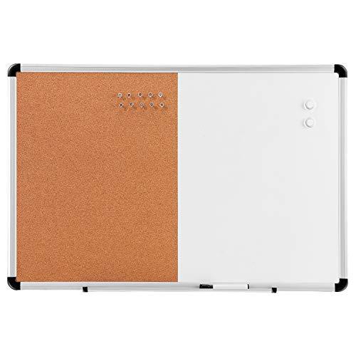 Amazon Basics - Pizarra blanca magnética de borrado en seco y tablón de corcho 2 en 1, 91,4 x 61 cm