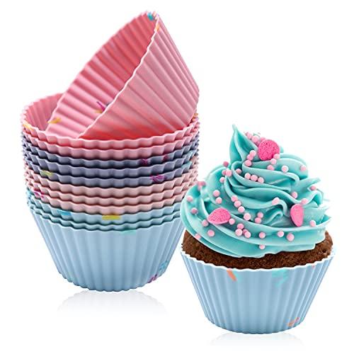 Cupcake Formen, Muffinform Silikon, Silikonformen, Silikon Backbecher, 12 Stück Wiederverwendbare Antihaftbeschichtet Muffinformen Fuer Cupcakes Pudding Kuchen