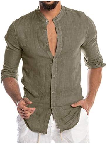 Sylar Camisas De Hombre Manga Larga Camisa Hombre Color Sólido con Cuello Mao Camisa De Vestir para Hombre Camiseta De Hombre con Botones Hombre Slim ...
