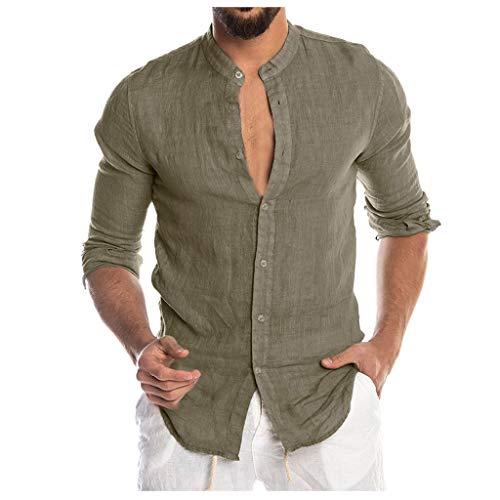 DNOQN T Shirt Lang Slim Fit Pullover Herren Mode für Männer Beiläufig O-Ausschnitt Taste Solide Strand Langarm Top Bluse L