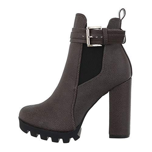 Ital Design Damenschuhe Stiefeletten Chelsea Boots Synthetik Braun Gr. 37