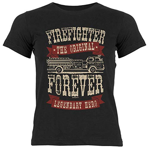 Feuerwehr-Shirt/Mädchen-Kinder Freizeit Bekleidung : Firefighter Forever The Original Legendary Hero