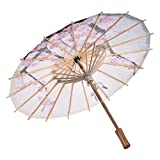 FILOL Classical Chinese Style Rainproof Umbrella, Silk Cloth Oil Paper Oriental Parasol with Tassel Pendent Floral Mulitcolor Paper and Bamboo Painted Paper Parasol (A)