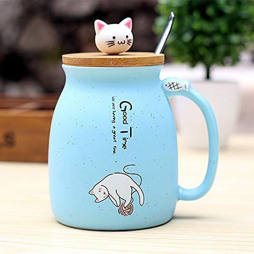 Sonline Neue sesam Katze hitzebestaendige Tasse Farbe Cartoon mit Deckel kaetzchen Milch Kaffee Keramik Becher Kinder Cup buero Geschenke(himmelblau)