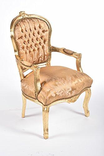 Way Home Store Poltrona Barocco Luis Stile Francese Luigi XVI Oro e Ocra con intarsi 63 x 65 x 94 cm
