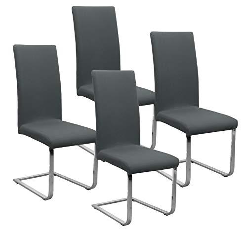 BEAUTEX Jersey Stuhlhussen Sets, elastische Stretch Husse Baumwolle Bi-Elastic, Farbe wählbar (Dunkelgrau 4er Set)