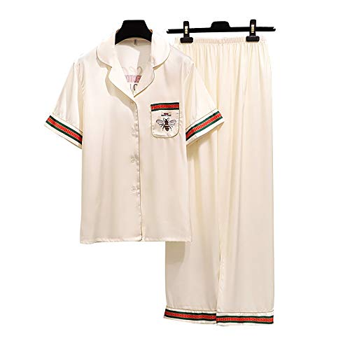 Dames pyjama set Vrouwelijke Ice Silk Summer Bee korte mouw Broeken Home Service Simulatie Zijden Vestje pyjama (Color : White, Size : M)