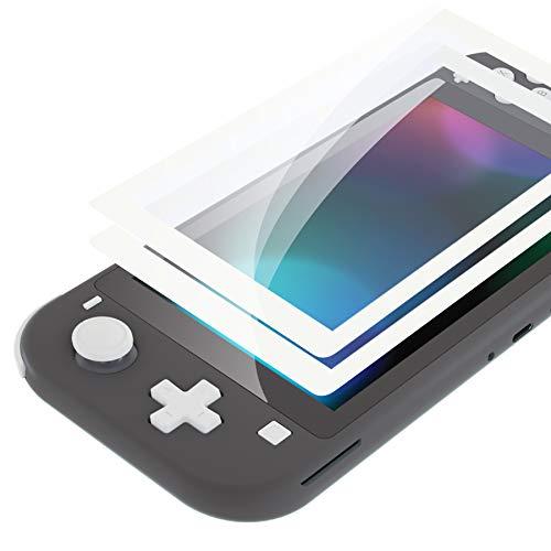 eXtremeRate 2 Pellicole Protettive Vetro Temperato Protezione Schermo per Nintendo Switch Lite-Bianco Bordo Trasparente HD Chiaro (AntiGraffio,Anti-Impronta Digitale,Infrangibile,Senza Bolle)
