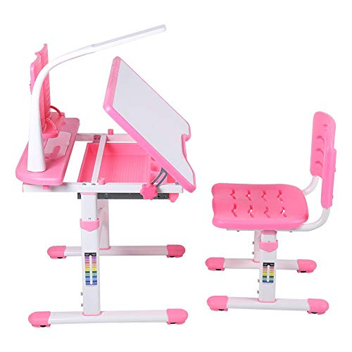 EBTOOLS Kindertisch mit Stuhl, Höhenverstellbar Kinderschreibtisch Schülerschreibtisch Kindermöbel mit Lampe und Neigungsverstellbar Desktop für Kinder, Rosa