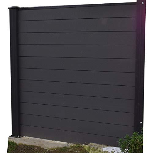 Cenefa de viento o salida de valla de jardín para exterior de compuestos opacos de composite ocultante Clostra forjando un panel de 178 cm de ancho x 175 cm de alto, postes negro, hoja gris antracita