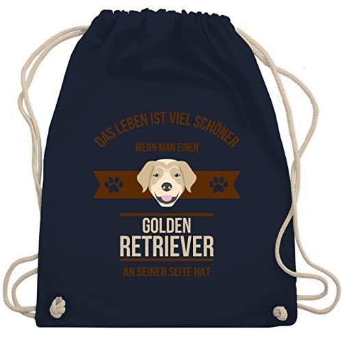 Hunde - Das Leben ist viel schöner wenn man einen Golden Retriever an seiner Seite hat - Unisize - Navy Blau - turnbeutel golden retriever - WM110 - Turnbeutel und Stoffbeutel aus Baumwolle