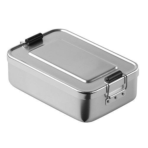 """elasto Robuste Brotdose Lunchbox """"Aluminium"""" Nachhaltige Vesperdose Pausenbox BPA-Frei Vorratsdose Brotbüchse aus Metall, Ideal für Arbeit Schule oder Kindergarten 18 x 12 x 5cm (Silber)"""