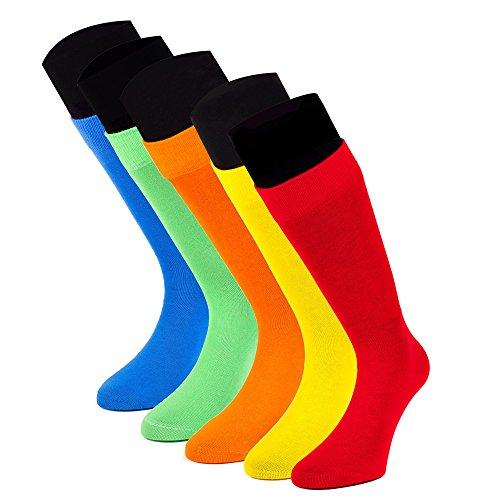 Lord of Socks - 5 Paar Business-Socken - knallig bunte Herrensocken - Modell VIENNA (39-42, Rot Orange Gelb Grün Blau)